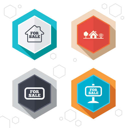 house for sale: Hexagon buttons. For sale icons. Real estate selling signs. Home house symbol. Labels with shadow. Vector