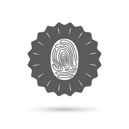 fingermark: Vintage emblem medal. Fingerprint sign icon. Identification or authentication symbol. Classic flat icon. Vector