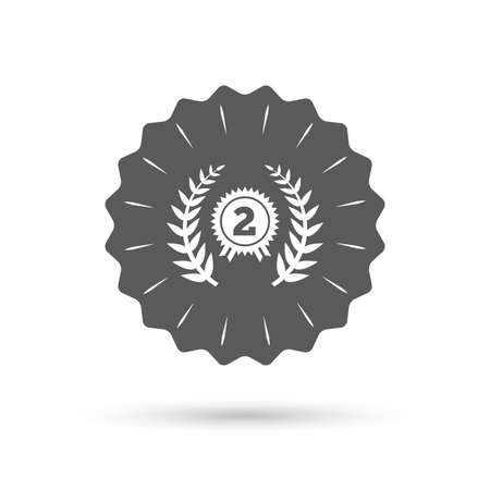 second prize: Vintage emblem medal. Second place award sign icon. Prize for winner symbol. Laurel Wreath. Classic flat icon. Vector