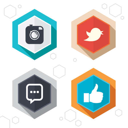 chat up: Hexagon buttons. Hipster photo camera icon. Like and Chat speech bubble sign. Hand thumb up. Bird symbol. Labels with shadow. Vector Illustration