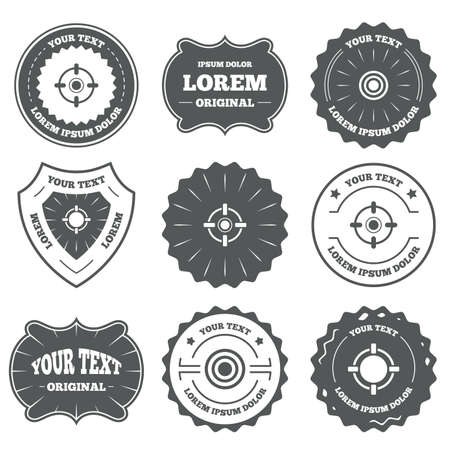 shooting: Vintage emblems, labels. Crosshair icons. Target aim signs symbols. Weapon gun sights for shooting range. Design elements. Vector