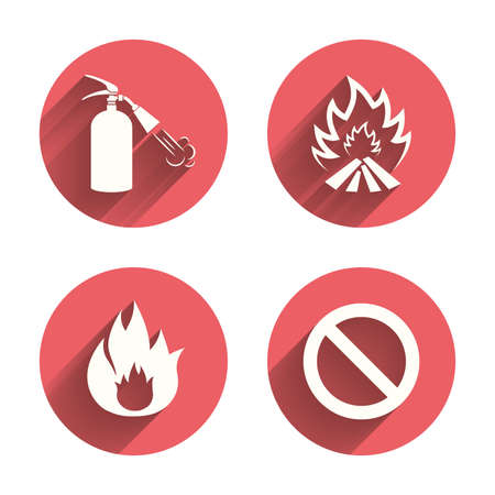 fire extinguisher sign: Fire flame icons. Fire extinguisher sign. Prohibition stop symbol. Pink circles flat buttons with shadow. Vector
