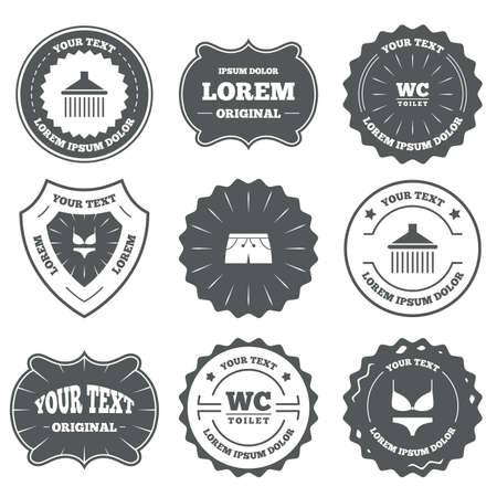 women in underwear: Vintage emblems, labels. Swimming pool icons. Shower water drops and swimwear symbols. WC Toilet sign. Trunks and women underwear. Design elements. Vector