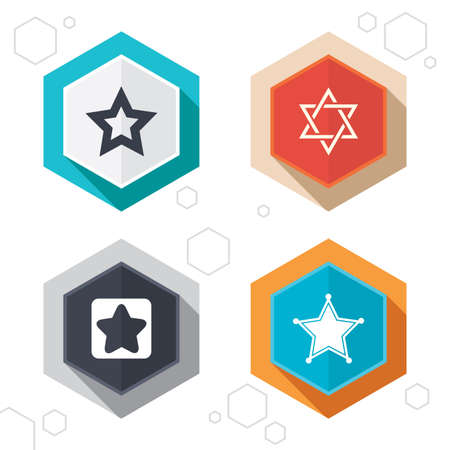 yiddish: Hexagon buttons. Star of David icons. Sheriff police sign. Symbol of Israel. Labels with shadow. Vector