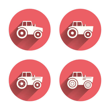 industry icons: Tractor icons. Agricultural industry transport symbols. Pink circles flat buttons with shadow. Vector