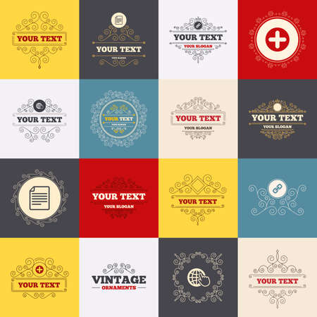 hyperlink: Vintage frames, labels. Plus add circle and hyperlink chain icons. Document file and globe with hand pointer sign symbols. Scroll elements. Vector