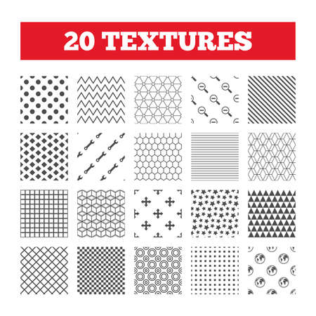 fullscreen: Seamless patterns. Endless textures. Magnifier glass and globe search icons. Fullscreen arrows and wrench key repair sign symbols. Geometric tiles, rhombus. Vector