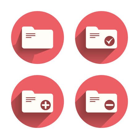 checkbox: Accounting binders icons. Add or remove document folder symbol. Bookkeeping management with checkbox. Pink circles flat buttons with shadow. Vector Illustration