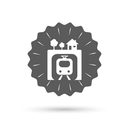 metro train: Vintage emblem medal. Underground sign icon. Metro train symbol. Classic flat icon. Vector
