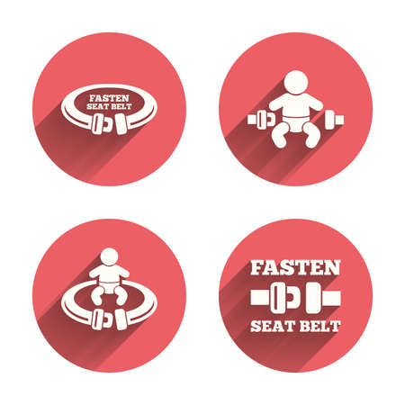 child safety: Fasten seat belt icons. Child safety in accident symbols. Vehicle safety belt signs. Pink circles flat buttons with shadow. Vector
