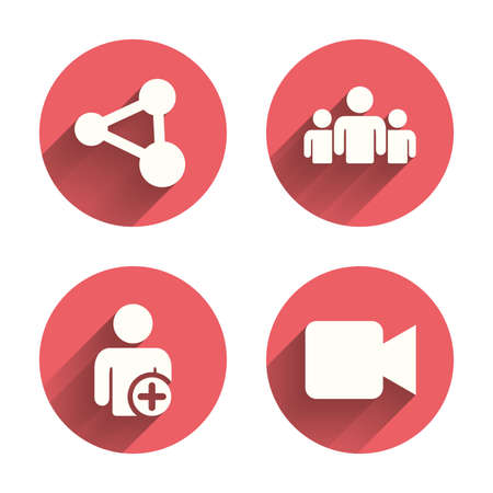 video icons: Group of people and share icons. Add user and video camera symbols. Communication signs. Pink circles flat buttons with shadow. Vector