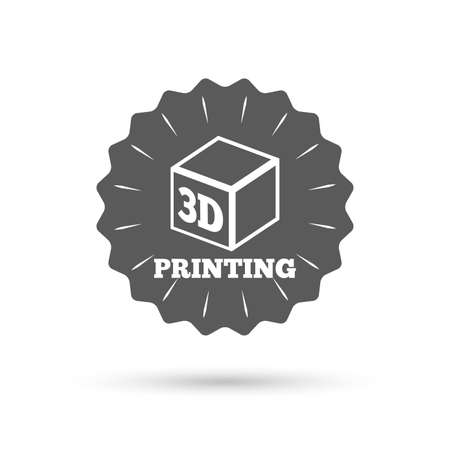 additive manufacturing: Vintage emblem medal. 3D Print sign icon. 3d cube Printing symbol. Additive manufacturing. Classic flat icon. Vector