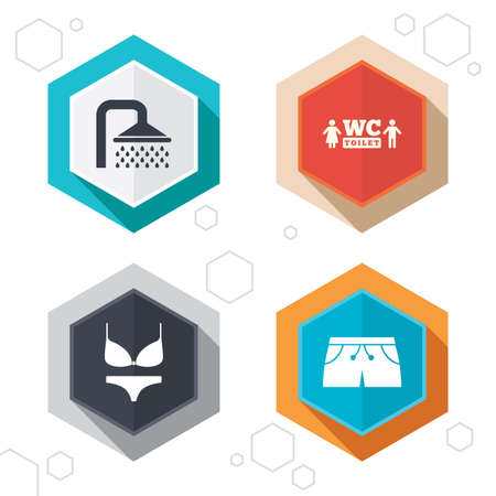 bathroom: Hexagon buttons. Swimming pool icons. Shower water drops and swimwear symbols. WC Toilet sign. Trunks and women underwear. Labels with shadow. Vector