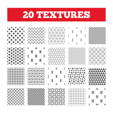 three dots: Seamless patterns. Endless textures. Roman numeral icons. 1, 2, 3 and 4 digit characters. Ancient Rome numeric system. Geometric tiles, rhombus. Vector