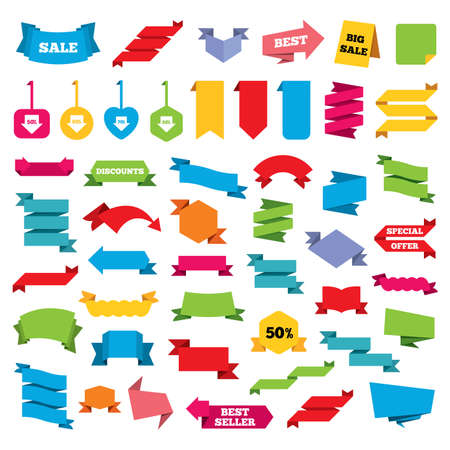 50 to 60: Web stickers, banners and labels. Sale arrow tag icons. Discount special offer symbols. 50%, 60%, 70% and 80% percent discount signs. Price tags set. Vector Illustration