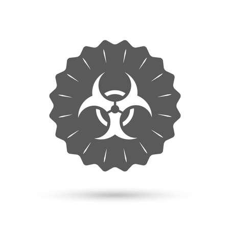biological hazards: Vintage emblem medal. Biohazard sign icon. Danger symbol. Classic flat icon. Vector