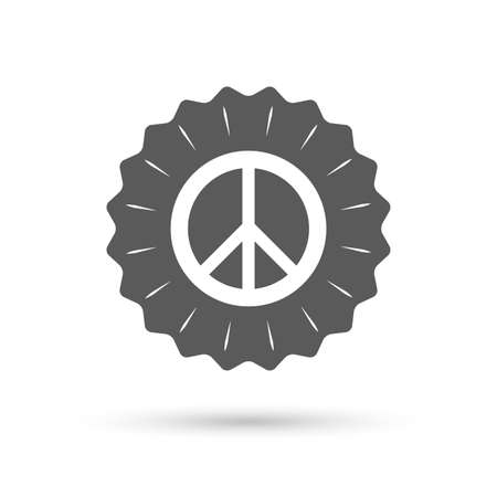 pacificist: Vintage emblem medal. Peace sign icon. Hope symbol. Antiwar sign. Classic flat icon. Vector Illustration