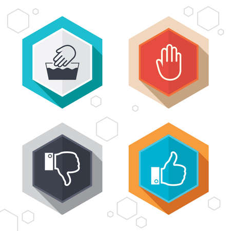 no edges: Hexagon buttons. Hand icons. Like and dislike thumb up symbols. Not machine washable sign. Stop no entry. Labels with shadow. Vector