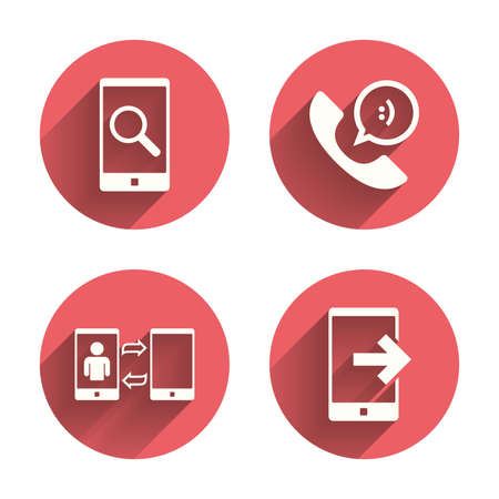 Phone icons. Smartphone with speech bubble sign. Call center support symbol. Synchronization symbol. Pink circles flat buttons with shadow. Vector
