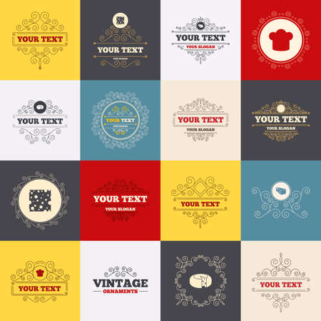 scroll wheel: Vintage frames, labels. Cheese icons. Round cheese wheel sign. Sliced food with chief hat symbols. Scroll elements. Vector Illustration