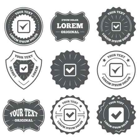 checkbox: Vintage emblems, labels. Check icons. Checkbox confirm squares sign symbols. Design elements. Vector