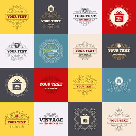 60 70: Vintage frames, labels. Sale gift box tag icons. Discount special offer symbols. 50%, 60%, 70% and 80% percent sale signs. Scroll elements. Vector