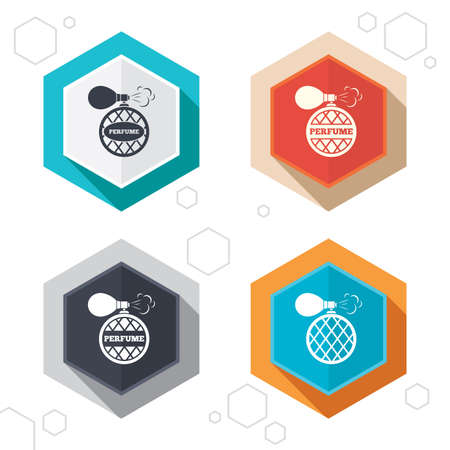 parfum: Hexagon buttons. Perfume bottle icons. Glamour fragrance sign symbols. Labels with shadow. Vector Illustration