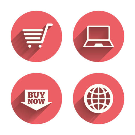 netbook: Online shopping icons. Notebook pc, shopping cart, buy now arrow and internet signs. WWW globe symbol. Pink circles flat buttons with shadow. Vector Illustration