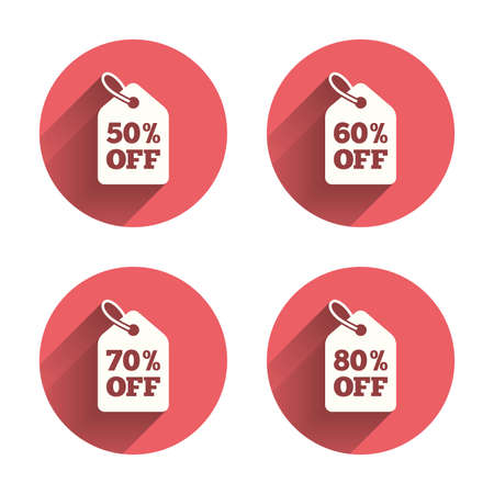 50 to 60: Sale price tag icons. Discount special offer symbols. 50%, 60%, 70% and 80% percent off signs. Pink circles flat buttons with shadow. Vector