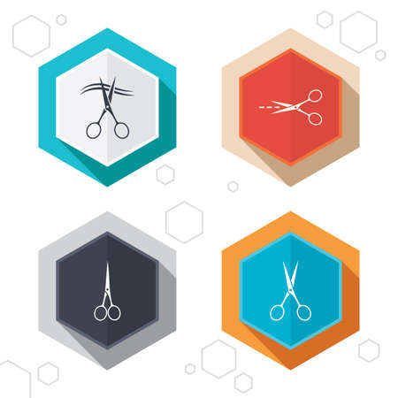 cut line: Hexagon buttons. Scissors icons. Hairdresser or barbershop symbol. Scissors cut hair. Cut dash dotted line. Tailor symbol. Labels with shadow. Vector