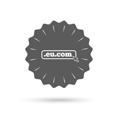 subdomain: Vintage emblem medal. Domain EU.COM sign icon. Internet subdomain symbol with cursor pointer. Classic flat icon. Vector Illustration