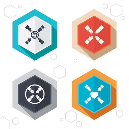 working together: Hexagon buttons. Teamwork icons. Helping Hands with globe and heart symbols. Group of employees working together. Labels with shadow. Vector