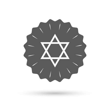 jewish star: Vintage emblem medal. Star of David sign icon. Symbol of Israel. Jewish hexagram symbol. Shield of David. Classic flat icon. Vector Illustration