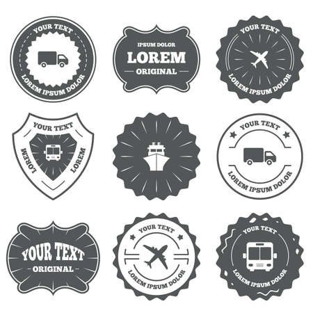 mail truck: Vintage emblems, labels. Transport icons. Truck, Airplane, Public bus and Ship signs. Shipping delivery symbol. Air mail delivery sign. Design elements. Vector
