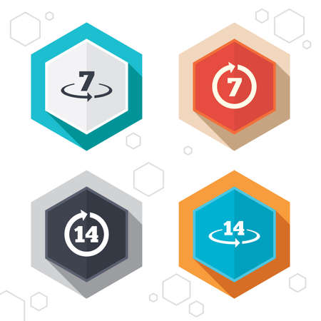 weeks: Hexagon buttons. Return of goods within 7 or 14 days icons. Warranty 2 weeks exchange symbols. Labels with shadow. Vector