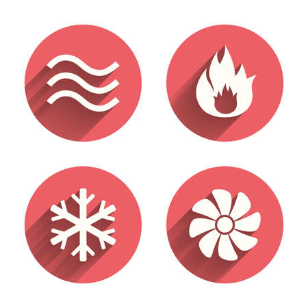water supply: HVAC icons. Heating, ventilating and air conditioning symbols. Water supply. Climate control technology signs. Pink circles flat buttons with shadow. Vector