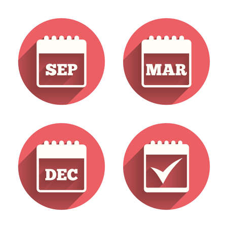 Calendar icons. September, March and December month symbols. Check or Tick sign. Date or event reminder. Pink circles flat buttons with shadow. Vector