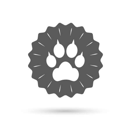 clutches: Vintage emblem medal. Dog paw with clutches sign icon. Pets symbol. Classic flat icon. Vector