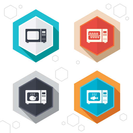 microwave stove: Hexagon buttons. Microwave oven icons. Cook in electric stove symbols. Grill chicken and fish signs. Labels with shadow. Vector