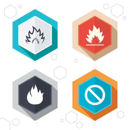 Hexagon buttons. Fire flame icons. Prohibition stop sign symbol. Labels with shadow. Vector