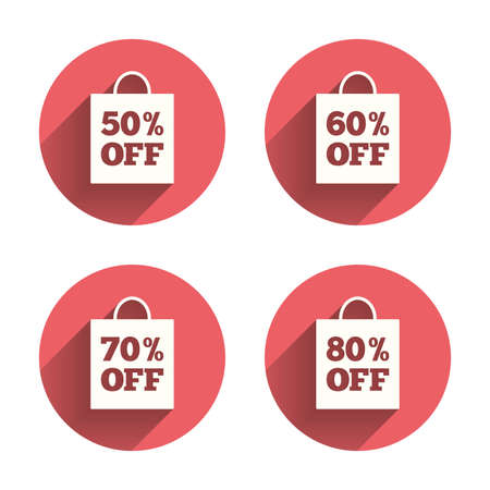 60 70: Sale bag tag icons. Discount special offer symbols. 50%, 60%, 70% and 80% percent off signs. Pink circles flat buttons with shadow. Vector