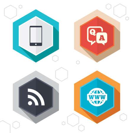 control de calidad: Hexágono botones. icono de pregunta respuesta. Smartphone y Q & A de chat de voz símbolos de burbujas. Internet globo en RSS y signos. Comunicación etiquetas con sombra. Vector Vectores