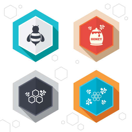 fructose: Hexagon buttons. Honey icon. Honeycomb cells with bees symbol. Sweet natural food signs. Labels with shadow. Vector