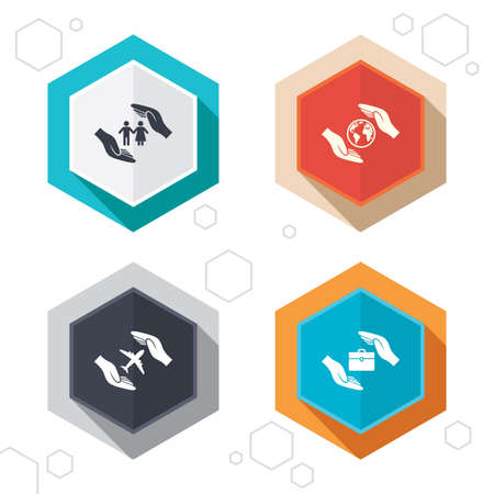world  hexagon: Hexagon buttons. Hands insurance icons. Human life insurance symbols. Travel flight baggage symbol. World globe sign. Labels with shadow. Vector