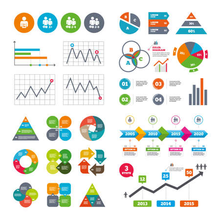 gamer: Business data pie charts graphs. Gamer icons. Board games players sign symbols. Market report presentation. Vector