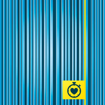 palpitation: Lines blue background. Heart Timer sign icon. Stopwatch symbol. Heartbeat palpitation. Yellow tag label. Vector Illustration