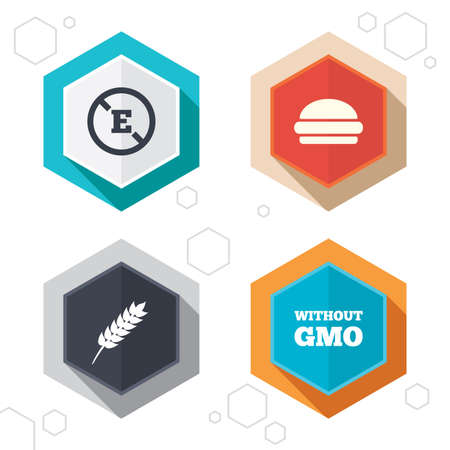 stabilizers: Hexagon buttons. Food additive icon. Hamburger fast food sign. Gluten free and No GMO symbols. Without E acid stabilizers. Labels with shadow. Vector