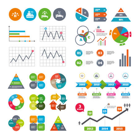 market place: Business data pie charts graphs. Five stars hotel icons. Travel rest place symbols. Human sleep in bed sign. Hotel 24 hours registration or reception. Market report presentation. Vector