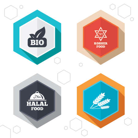 no edges: Hexagon buttons. Natural Bio food icons. Halal and Kosher signs. Gluten free and star of David symbols. Labels with shadow. Vector