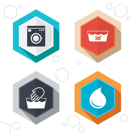 washhouse: Hexagon buttons. Hand wash icon. Machine washable at 30 degrees symbols. Laundry washhouse and water drop signs. Labels with shadow. Vector